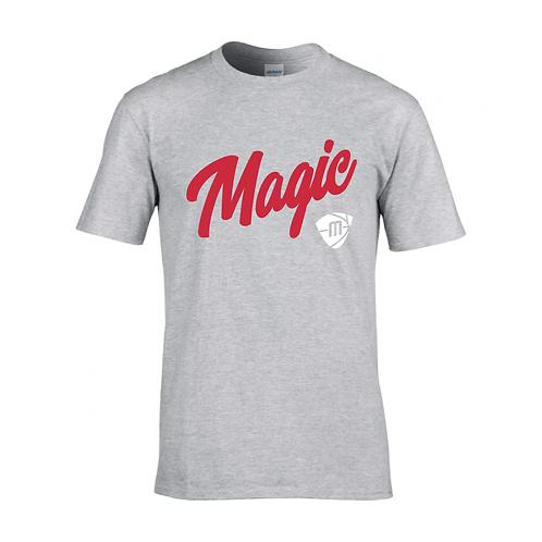 Manchester Magic Script & Logo Sport Grey T-shirt - Red & White