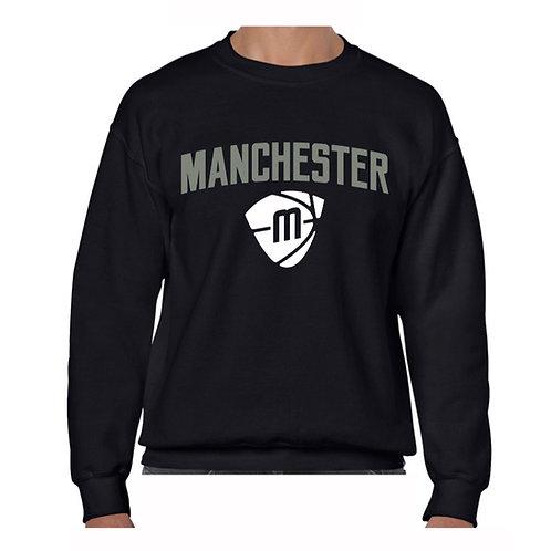 Manchester Magic & Mystics Text and Logo Black Crew -Grey & White