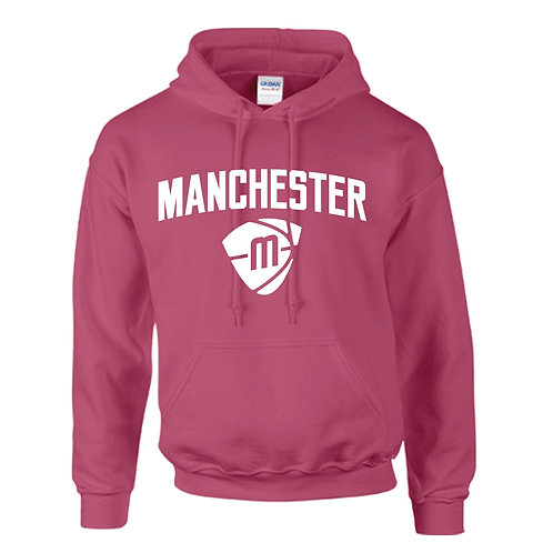 Manchester Magic & Mystics Text and Logo Heliconia Pink Hoody - White print