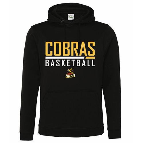 Caerphilly Cobras Black Polyester Hoody design 1