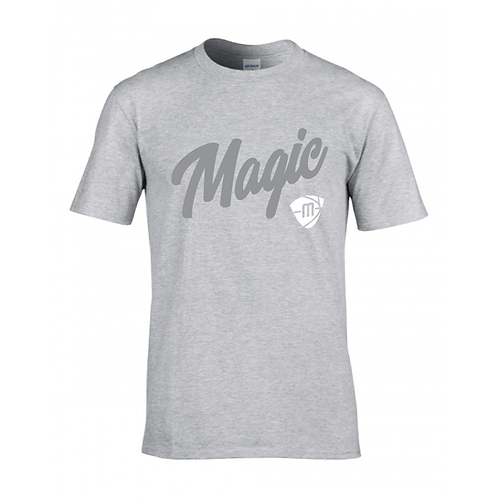 Manchester Magic Script & Logo Sport Grey T-shirt - Grey & White