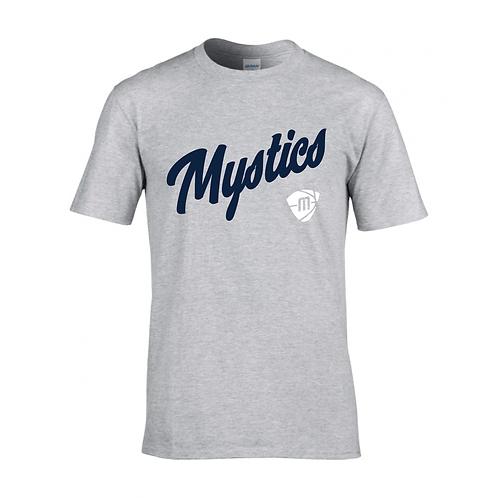 Manchester Mystics Script & Logo Sport Grey T-shirt - Navy & White
