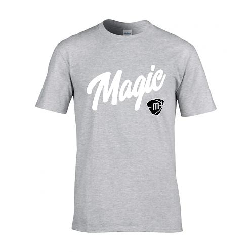 Manchester Magic Script & Logo Sport Grey T-shirt - White & Black