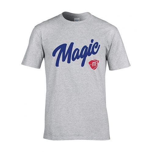 Manchester Magic Script & Logo Sport Grey T-shirt - Royal & Red