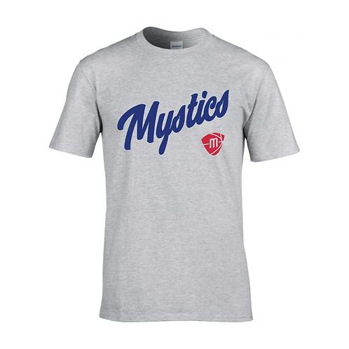 Manchester Mystics Script & Logo Sport Grey T-shirt - Royal & Red