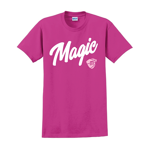 Manchester Magic Script & Logo Heliconia Pink T-shirt 2
