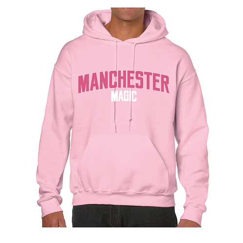 Manchester Magic Light Pink Hoody - Pink & White print