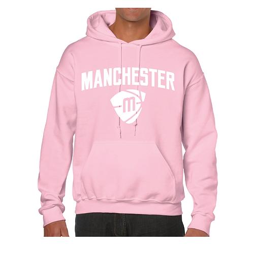 Manchester Magic & Mystics Text and Logo Light Pink Hoody - White print