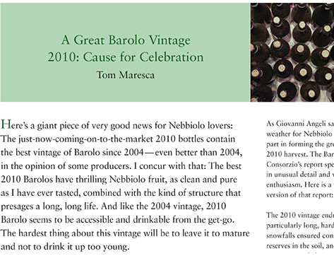 A Great Barolo Vintage 2010: Cause for Celebration