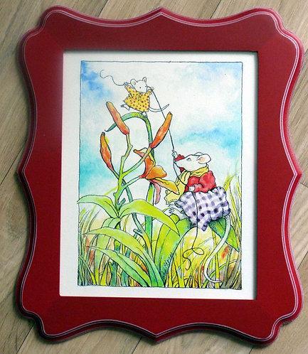 """Lil's Tulip Ride, 8x10"""" framed"""