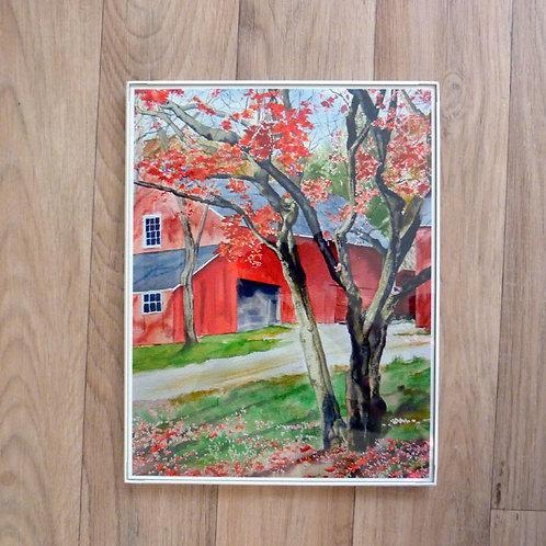 Red Barn, 8.5 x 11 framed