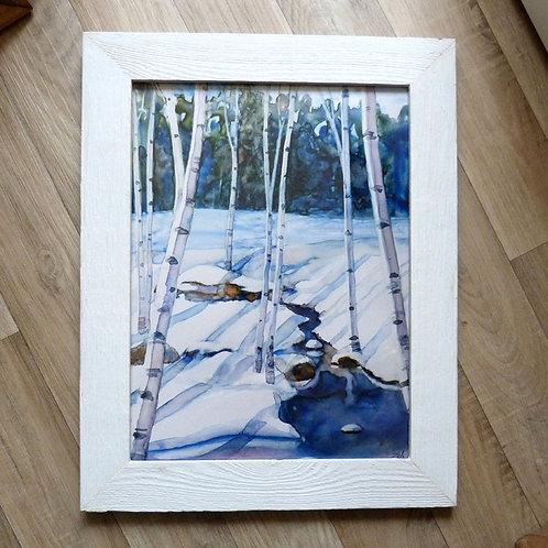 """At the Snowy Stream"", 12x16"" framed"