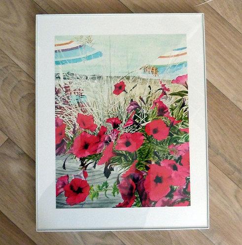 "Beach Petunias, 11 x14"" framed"