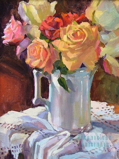 O46 Roses in white Pitcher