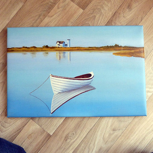 """""""Anchored Boat"""",  wrapped canvas 13 x 19"""""""