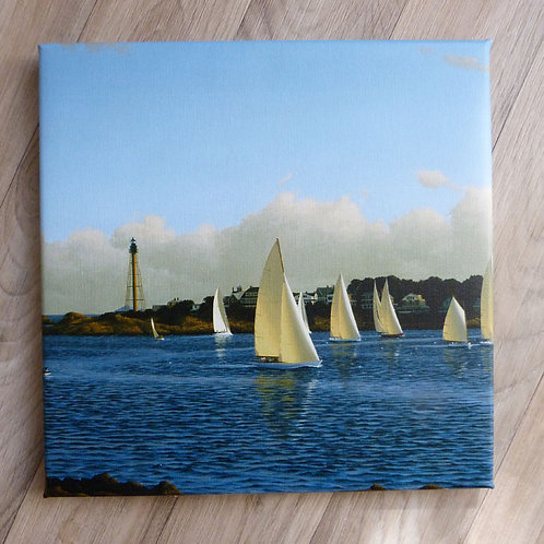 """Harbor Sail"" (square crop),  wrapped canvas 12 x 12"""