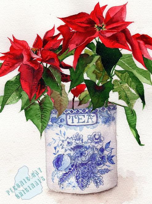 Y28 Tea Canister Poinsettia