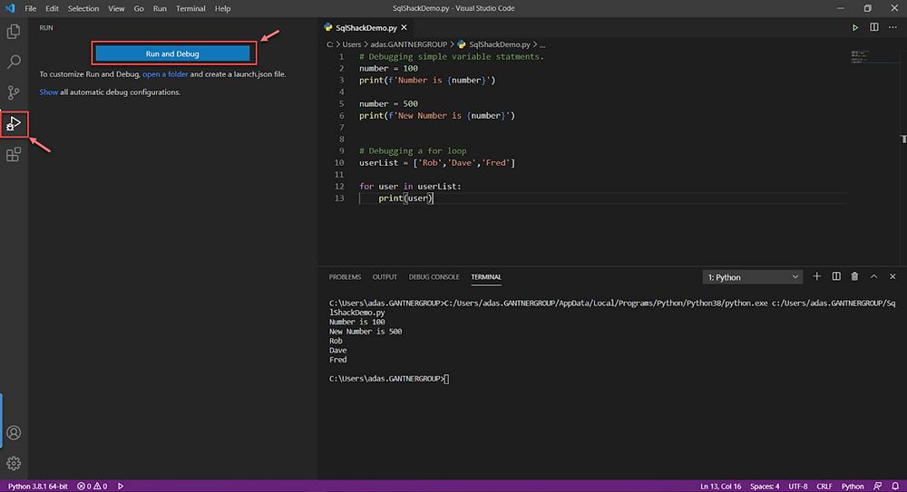 The basic way to debugging Python code