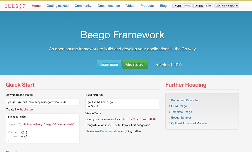 Some Golang web frameworks for development