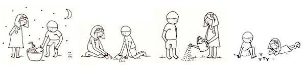"""Come si semina la carta piantabile """"La carta che germoglia""""? Illustrazione realizzata dalla bravissima Laura Mangone per Redacia"""