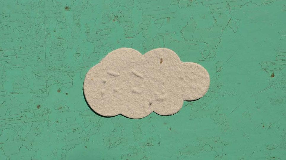 NUV1S Nuvola Piantabile+Stampa 3,5x5,5 cm in Carta che Germoglia