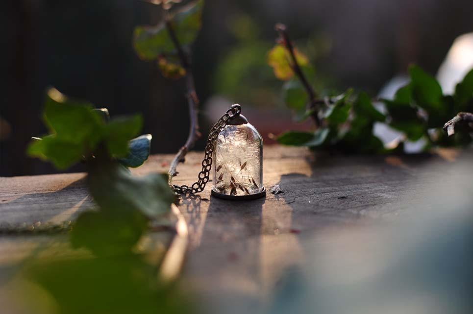 collana con soffioni, semi tarassaco