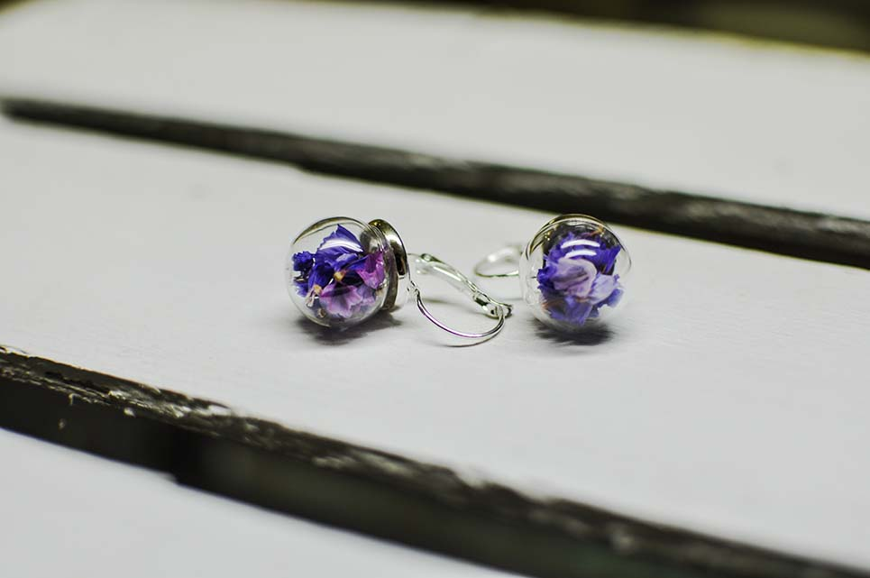 orecchini con fiori di statice