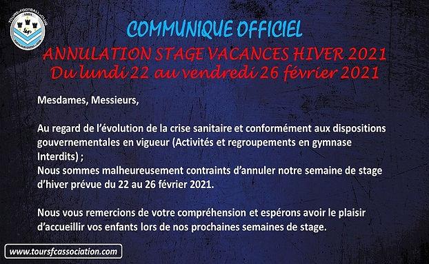 Communiqué officiel - Annulation stages
