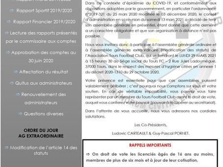 ASSEMBLEE GENERALE - LUNDI 29 MARS 2021