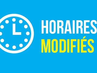 Modifications horaires sécrétariat