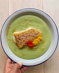 Sesame Cod with French Bean Soup & Nasturtium