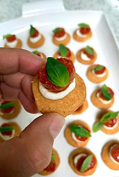 Parmesan Biscuits with Tomatoes & Stracciatella