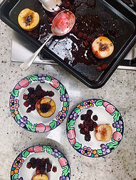 Baked Peaches with Blackberries