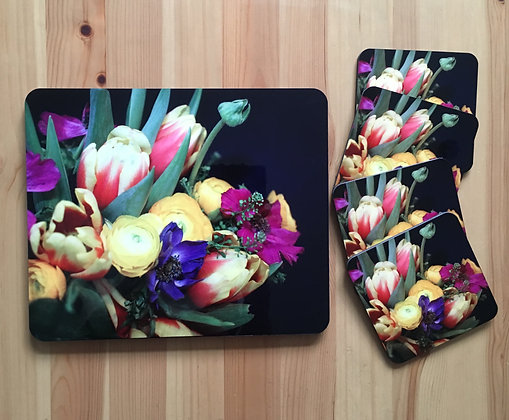 Bouquet Of Colourful Flowers Coaster Set