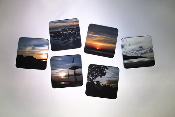 "Square Coasters ""Sunset"""