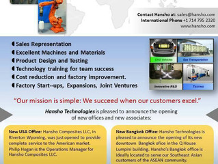 Hansho Composites is growing to serve the American and Asia Pacific Market