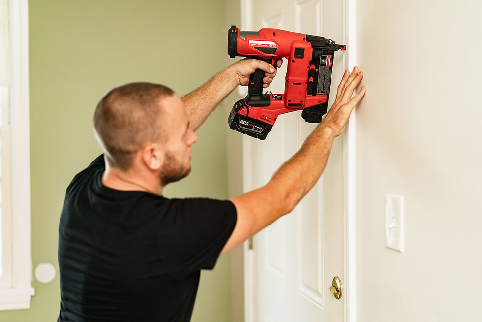 Jesse handyman installing molding