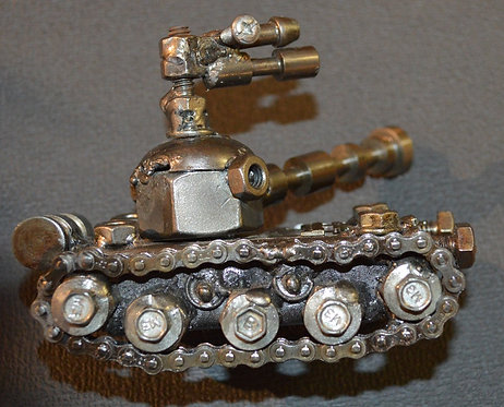 Recycled Metal and Auto Part Tank Figure