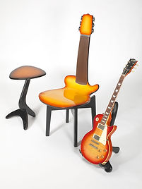 Baltic Birch Custom Traditional Guitar Chair, Guitar Stand, and Small Guitar Pick Side Table