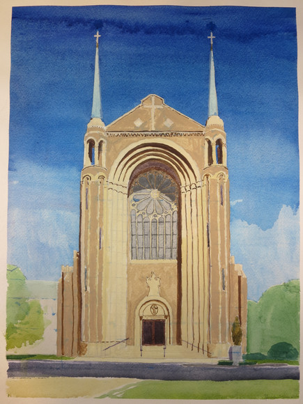 Nicholas E. Connors - Our Lady of Notre Dame des Canadiens Church - watercolor, May/June 2008