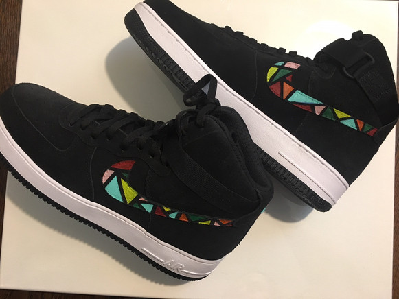 Jess Dempsey - Notre Dame Stained Glass Air Force 1s - customized sneakers, May 26, 2018