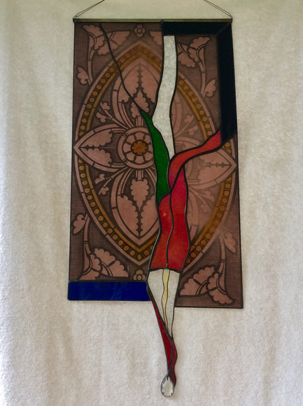 Joe DiGregorio - Broken Promise - antique and contemporary stained glass, 2018