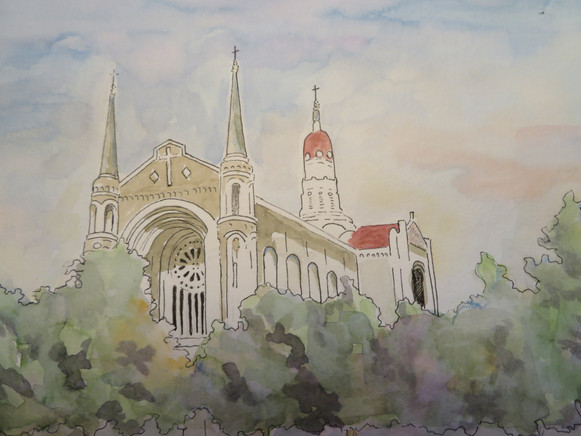 Barbara Roberts - Our Lady in Watercolors - pen and ink/watercolor painting, May 27, 2018