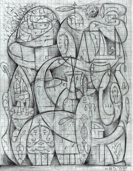 Howard Johnson - St. Messiah for  Salvation of Notre Dame - graphite on graph paper, 2005-present and beyond... Notre Dame as Einstein Rosen Bridge and Paradox; portal to alternate realities , bubble universes, inter dimensional worlds and all heavans