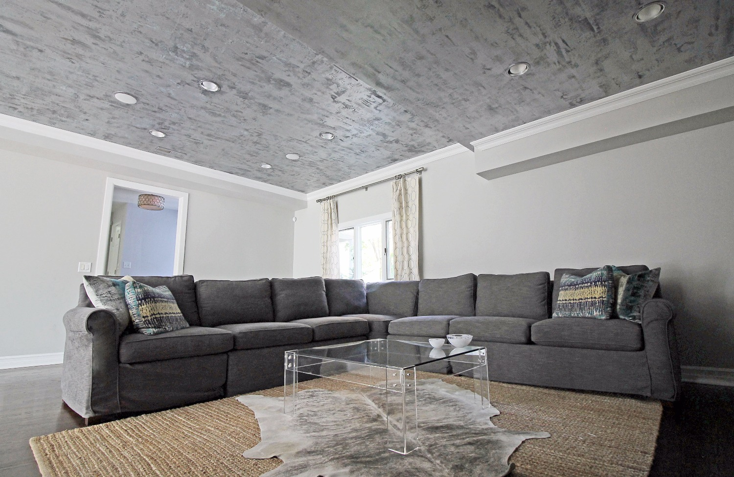 Silver Metallic Patina Ceiling