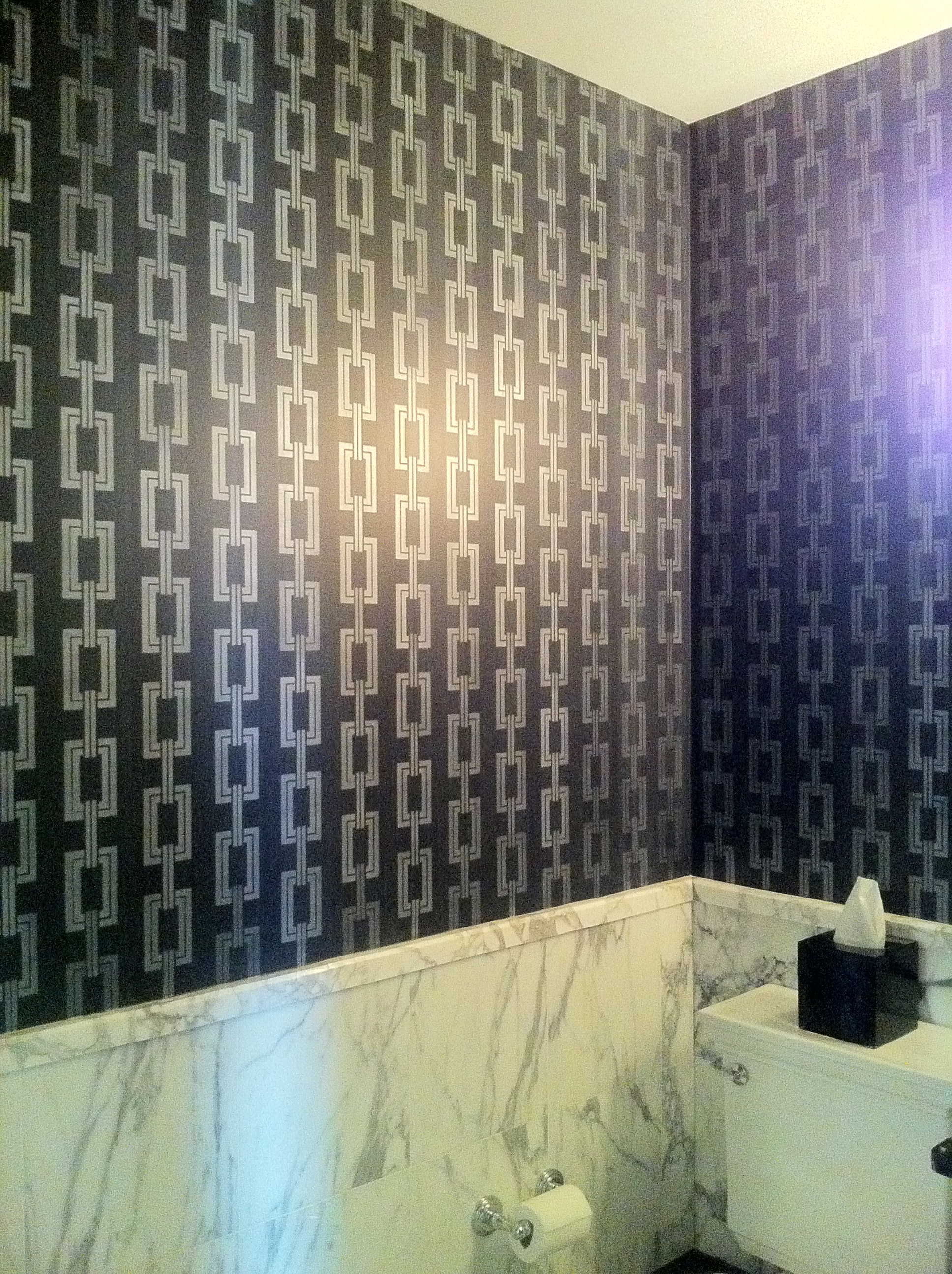 Custom Stencil and Silk Strie Walls
