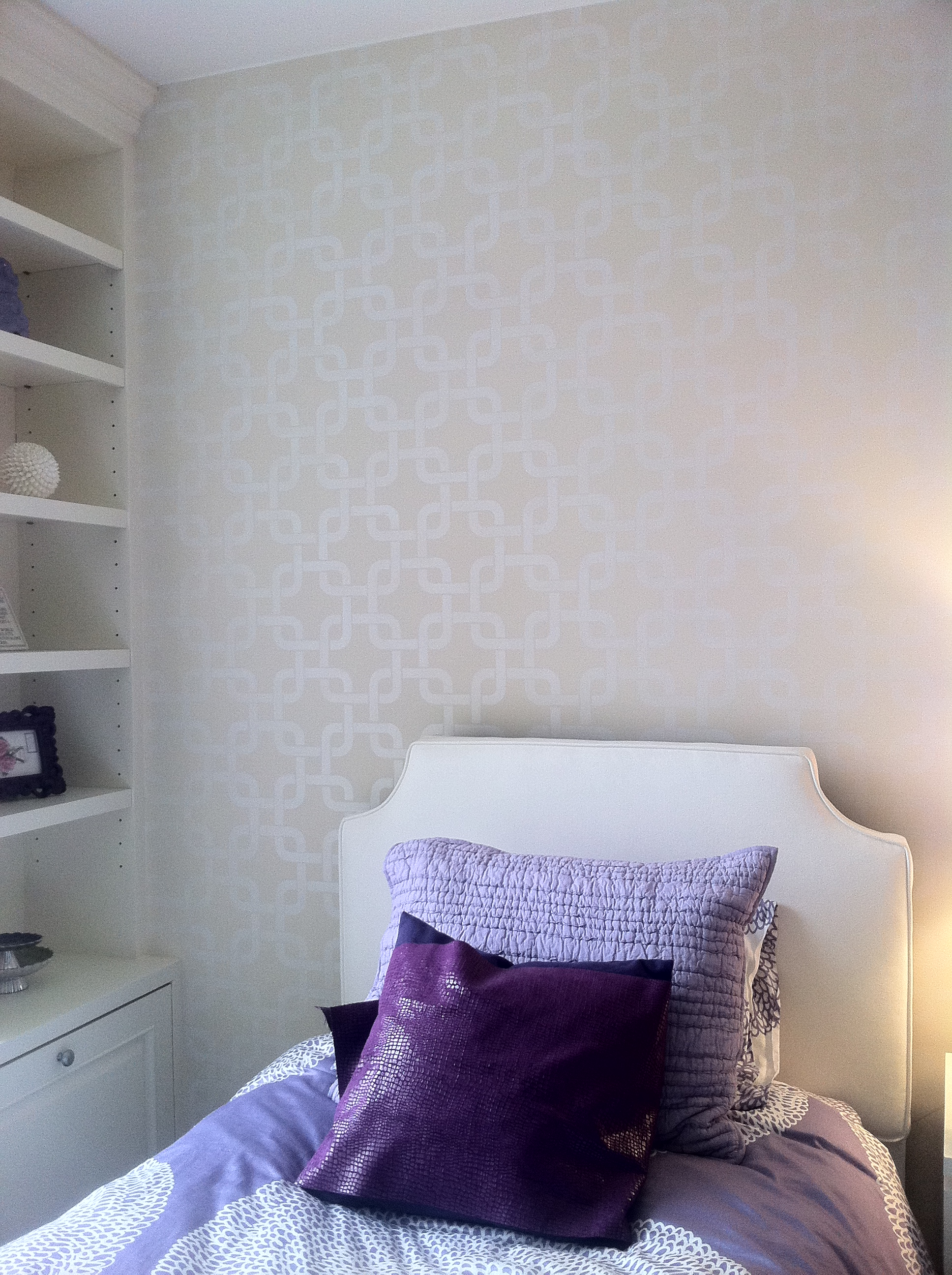 Pearl White Stenciled Wall
