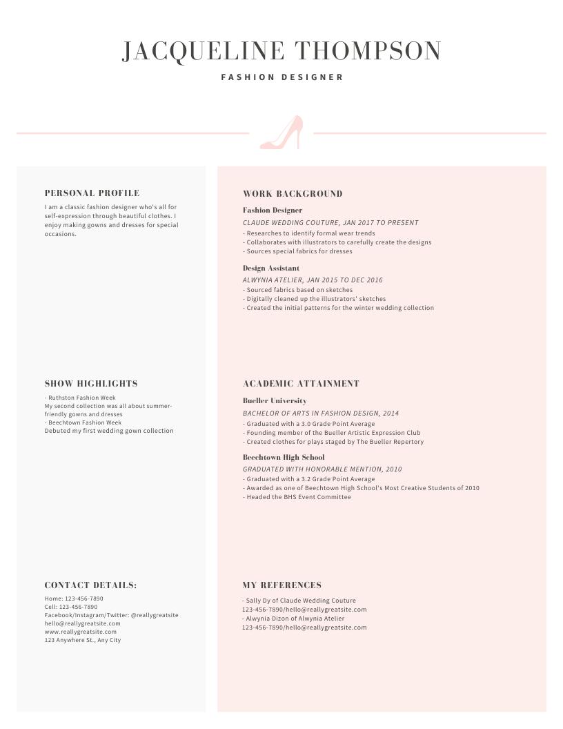 Pastel Stiletto Icon Minimalist Resume