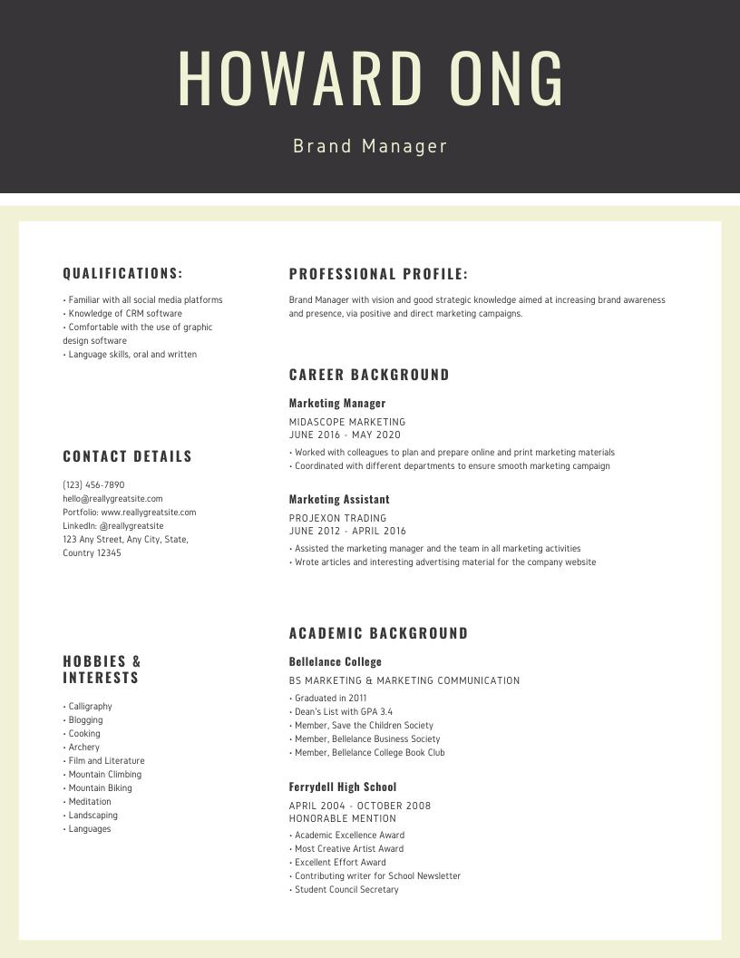 Cream Grey Marketing Professional Corpor
