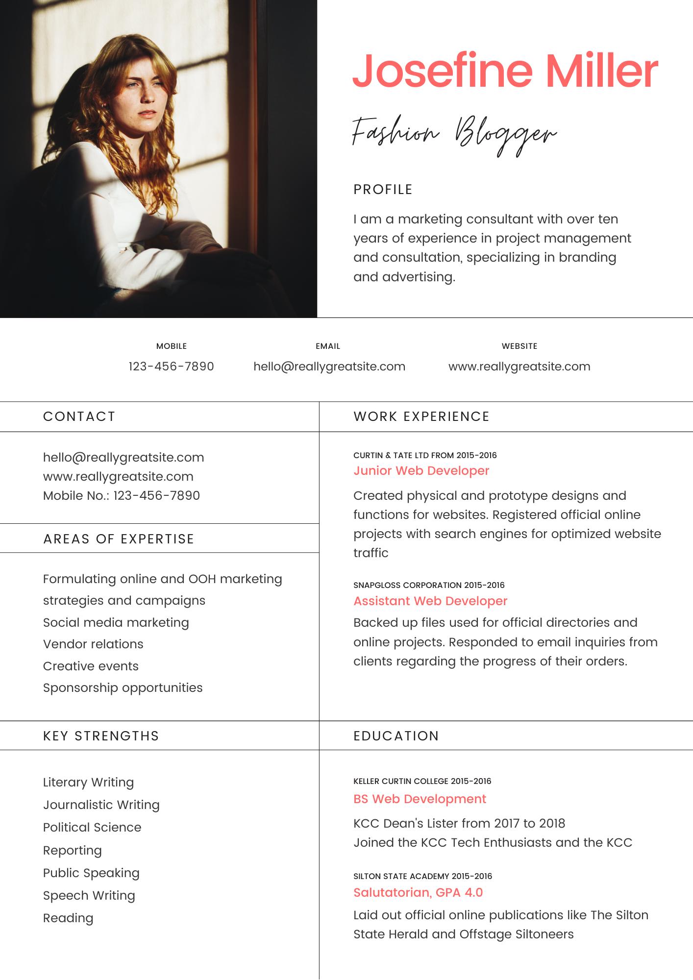 Peach and Black Modern Resume